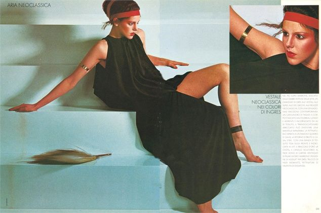 Vogue Italia, Madame Gres dress photographed by Guy Bourdin 1975