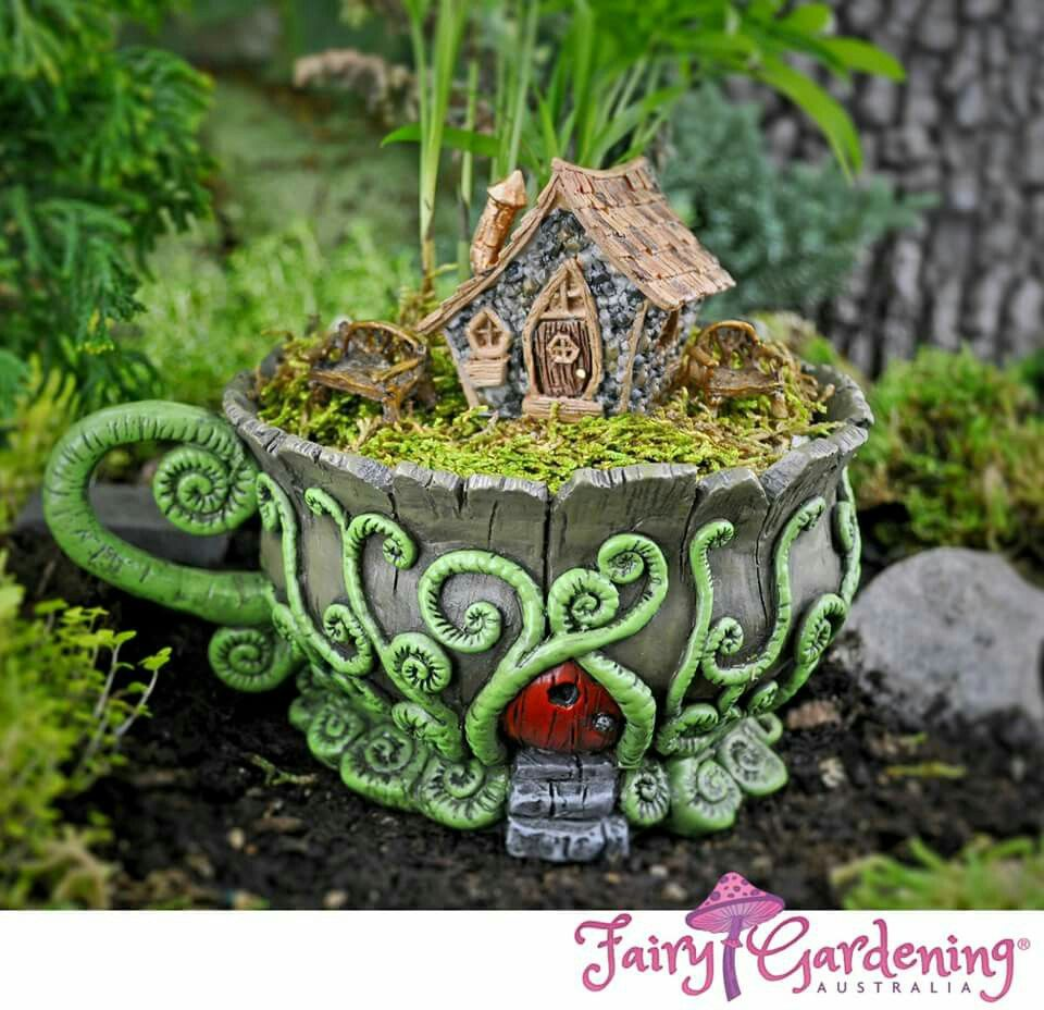 Woodland Tea Cup Planter with Door Fairy