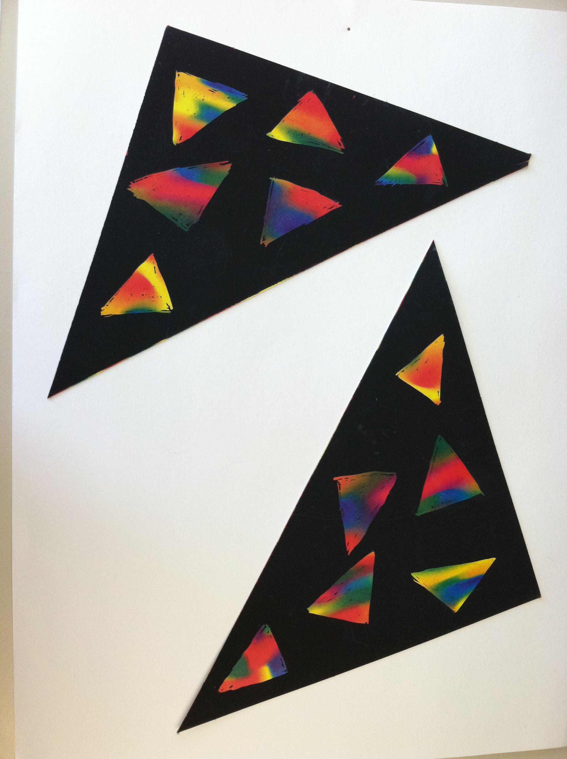 Triangle Scratch Art   Toddler Thursday