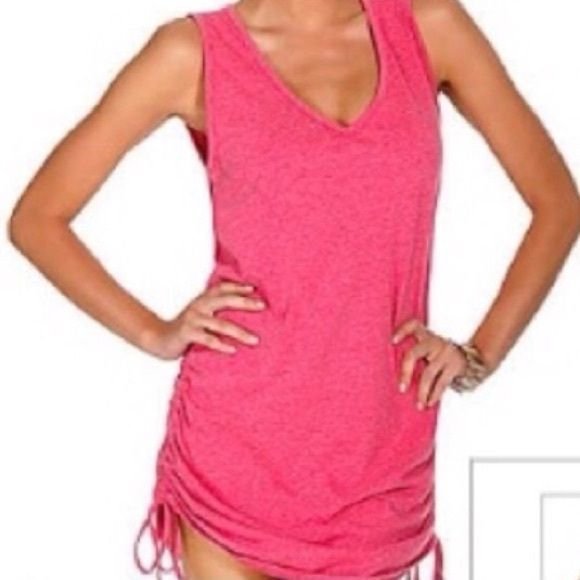 Pink swimsuit Cover-Up So cute! Adjustable sides, so you can make a custom fit. Purchased too many cover-ups for my trip!  Feels like a t-shirt. (60% poly and 40% cotton) Eco Swim Swim Coverups
