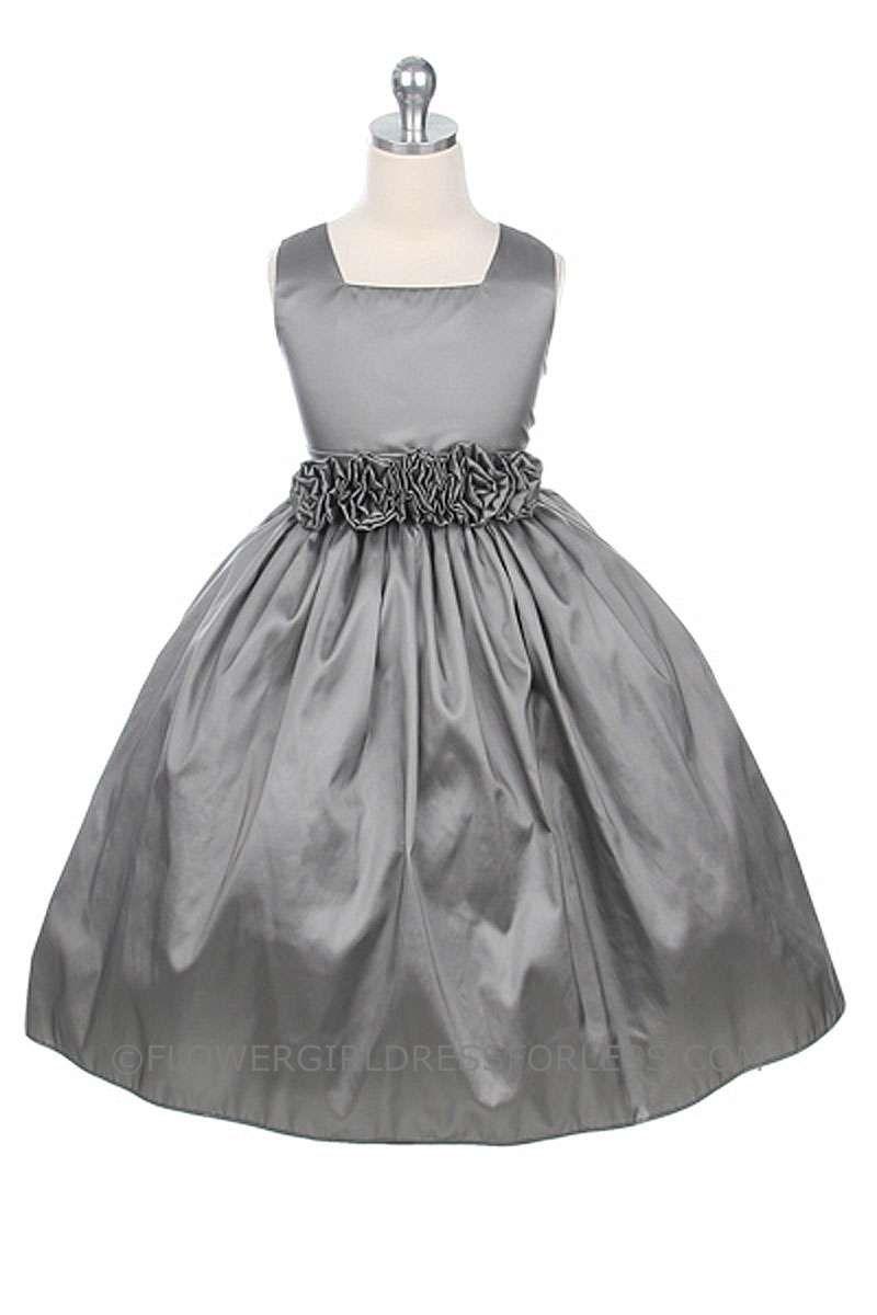 Cheap silver dresses for weddings  SKSVSALE  Flower Girl Dress Style   SALE GreySilver
