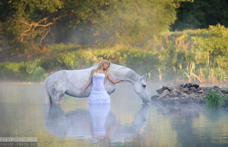 Girl with horse in water /pond / lake. Equine Photography by Ekaterina Druz