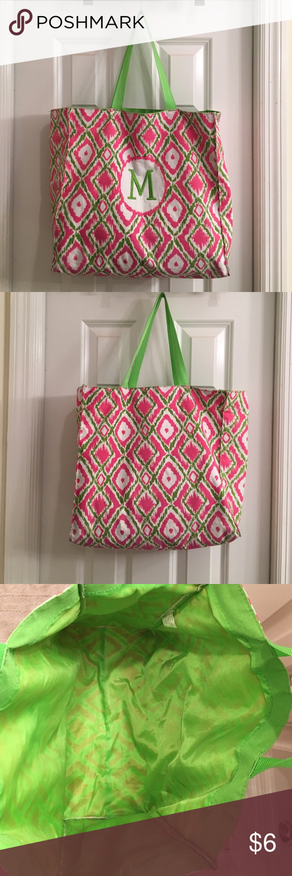 Bag 100% polyester with sewn in liner Bag 100% polyester with green sewn in liner, light wear good condition Bags Totes
