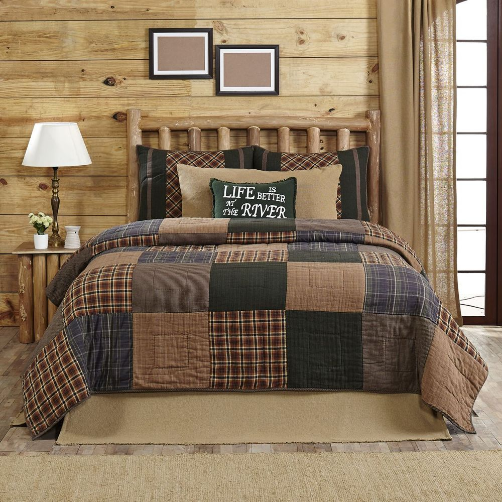Brown and blue rustic bedroom - Henley Queen 3p Quilt Set Rustic Primitive Plaid Brown Blue Country Block Cotton