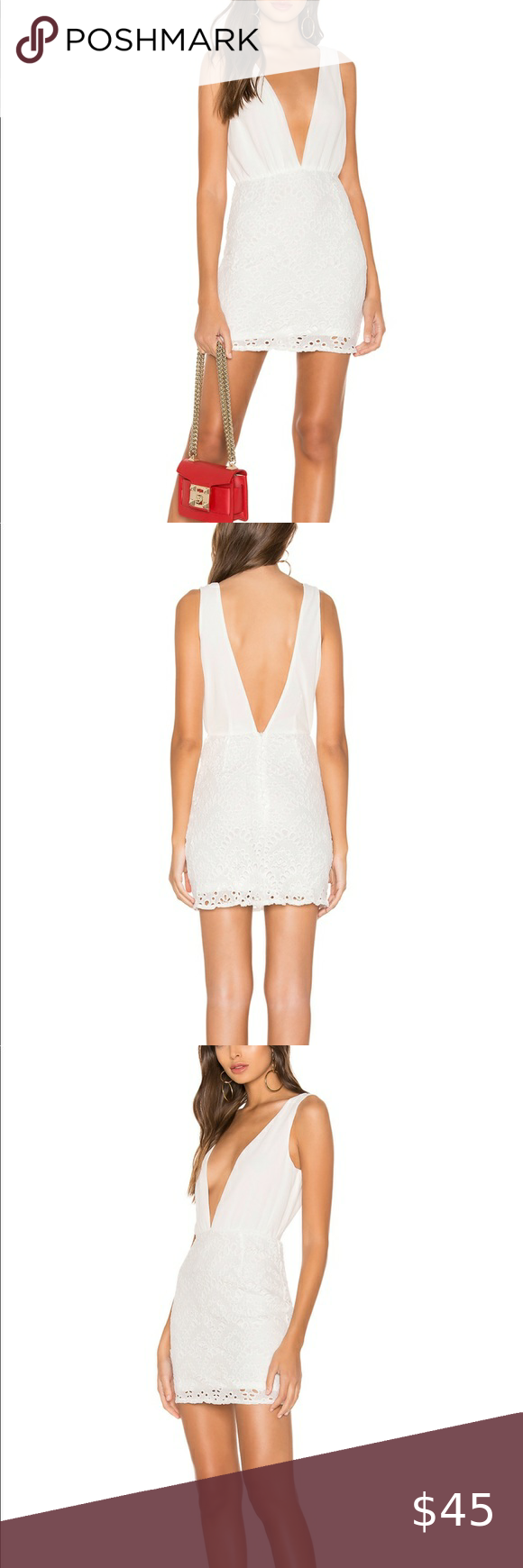 Revolve Superdown White Plunge Dress With Eyelet White Plunge Dress Plunge Dress Dresses [ 1740 x 580 Pixel ]