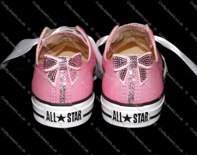 ac4bd401f224be Swarovski or Diamante Crystal Adult Lo Top Converse In Pink Pink Crystals