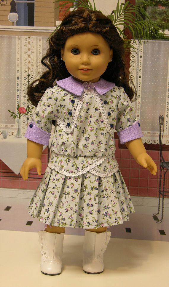Sunday Stroll- dropwaist dress and bloomers for American Girl