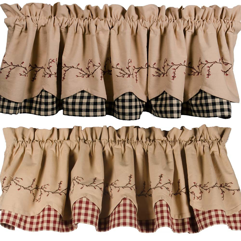 Check out the deal on berry vine check fairfield valance
