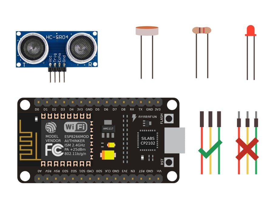 How to connect the Ultrasonic and LDR Sensors with NodeMcu