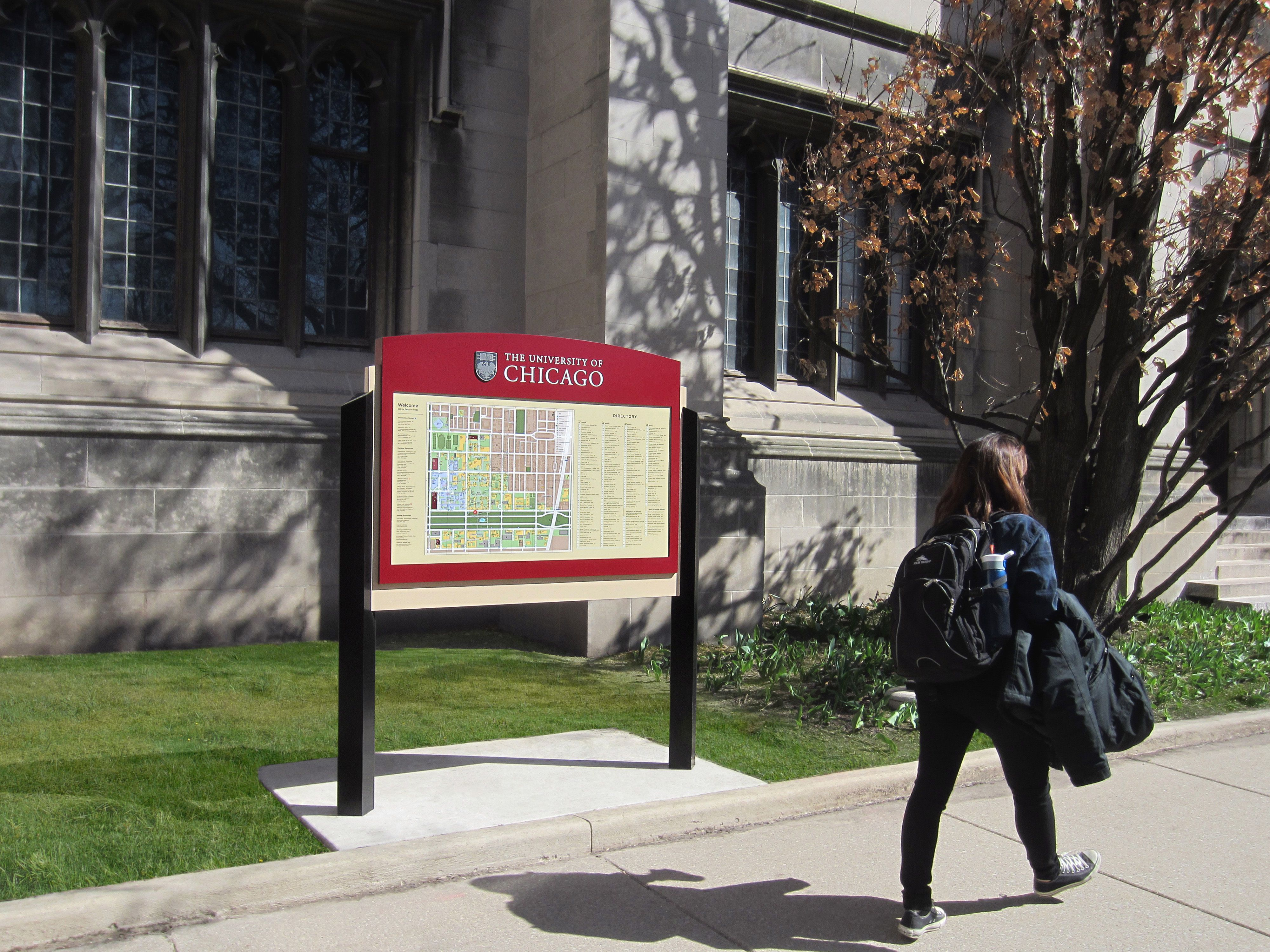 Wayfinding map sign at the University of Chicago