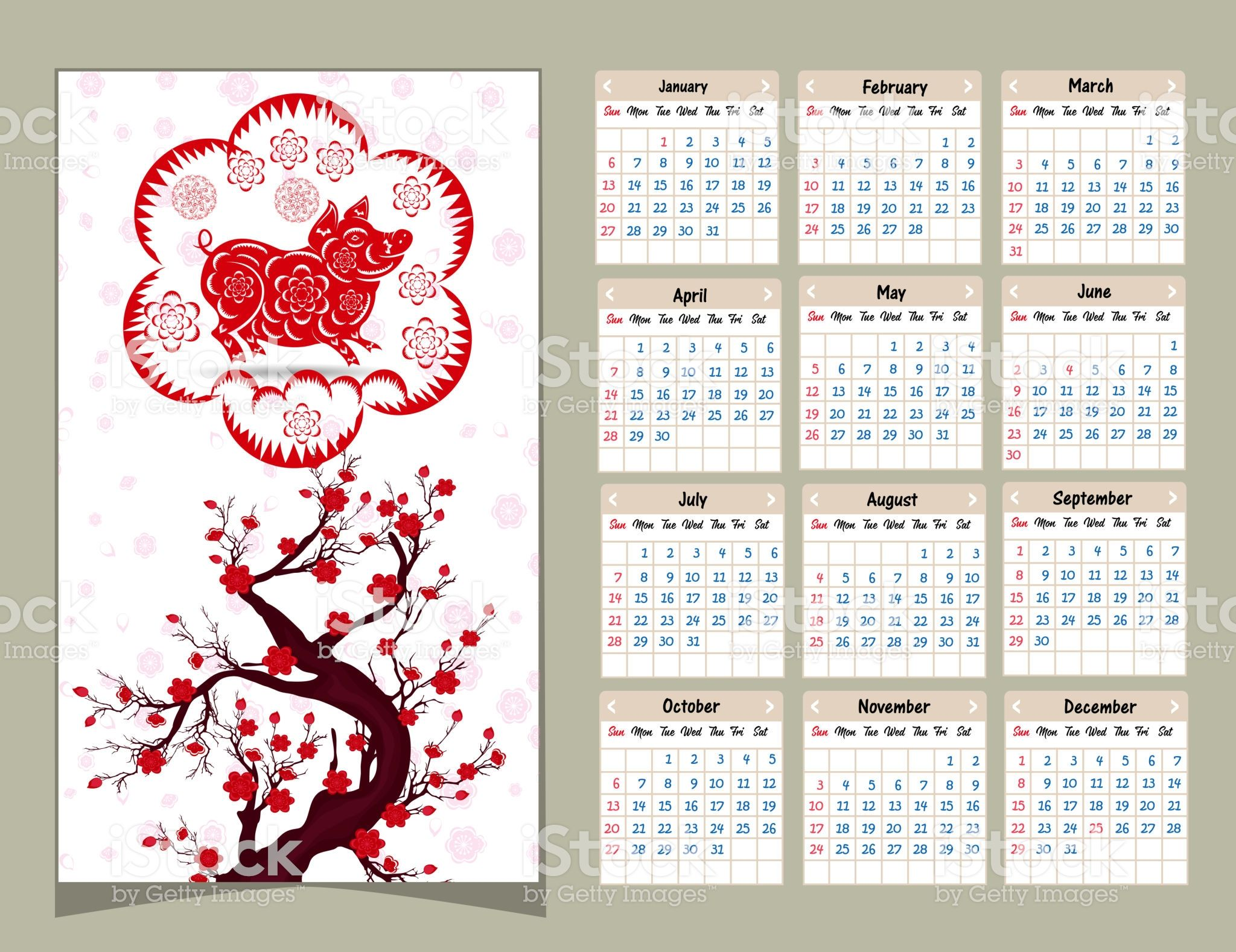 Calendar 2019 Chinese calendar for happy New Year 2019 ...