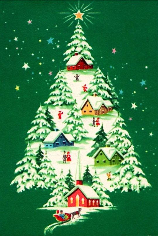 Simply Having A Wonderful Christmas Time.Vintage Green Christmas Card With A Cluster Of Homes Within