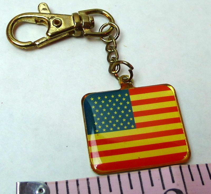 American Flag Keychain vintage Decorative retractable clasp charm #BlingBlinky