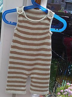 Cute Stripey Dungarees Knit In Easy To Wash Cotton For A Cool