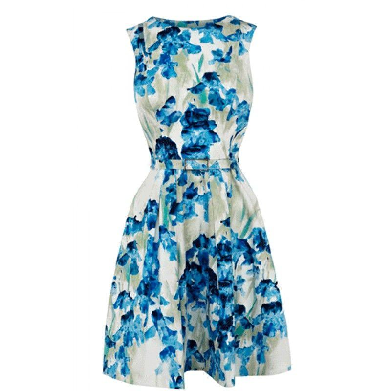 Provide Karen Millen Outlet DQ021 Cotton Iris Print Dress Blue