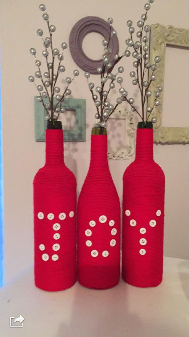 Joy wine bottles Decorated Bottles Pinterest Botellas