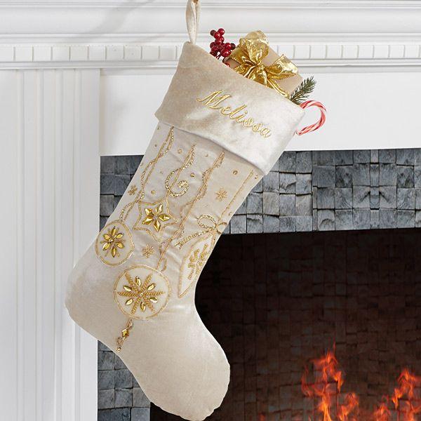 Yuletide Gold Jeweled Velvet Embroidered Stockings Stockings - christmas clearance decor