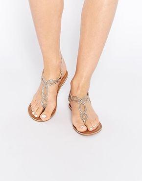 New Look – Flache Metallic-Sandalen