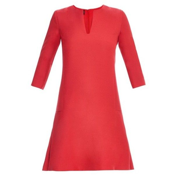 Giambattista Valli Wool and silk-blend fluted mini dress (12.905 ARS) ❤ liked on Polyvore featuring dresses, red, drop waist dress, red dress, wool mini dress, elbow sleeve dress and giambattista valli dress