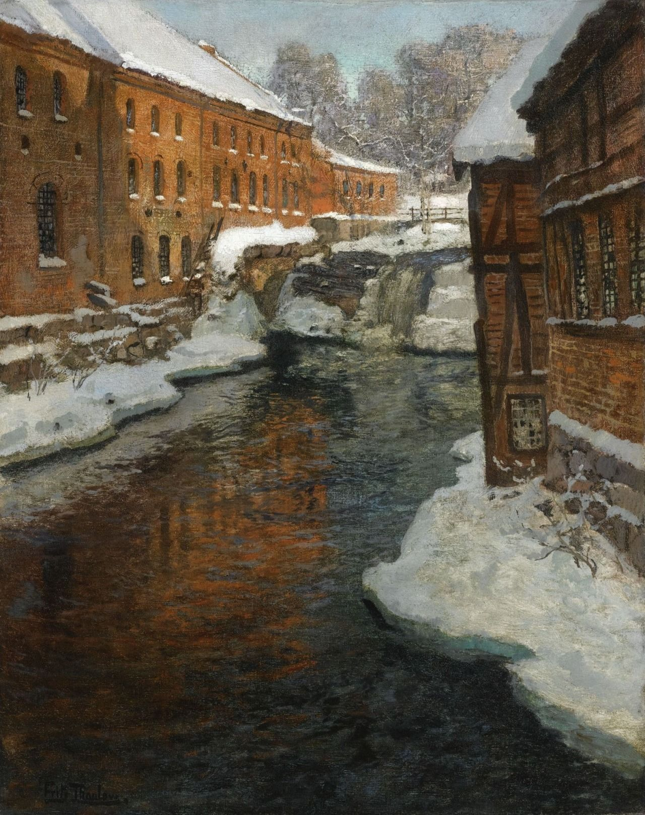 """""""Fra Akerselven (The Akerselven River in the Snow) by Frits Thaulow (Norwegian, 1847—1906) """""""