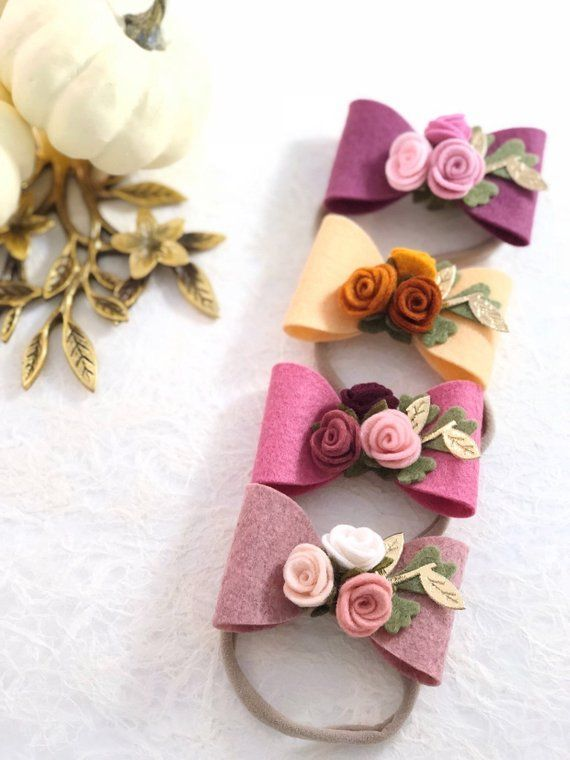 Felt Bow Headband. Girl Felt Bow Hair Clip. Baby Girl Bow Headpiece. Newborn Felt Bow Headband. Felt Bow Clip. Baby Hair Accessories.
