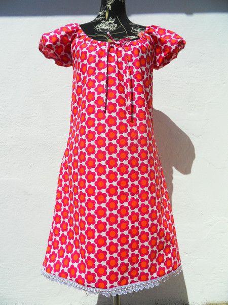 Kurzarm Blumen Kleid Sommerkleid bunt Flower von Zellmann Fashion auf DaWanda.com