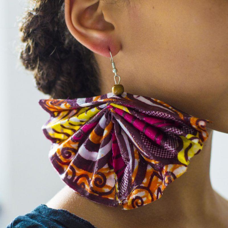 Diy Ankara Dangle Fan Shaped Earring Check Fayahfayah For The Tutorial How To Make It