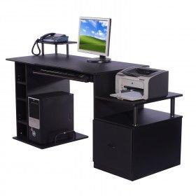 Mesa de Ordenador PC Oficina Estudio Escritorio Madera ...