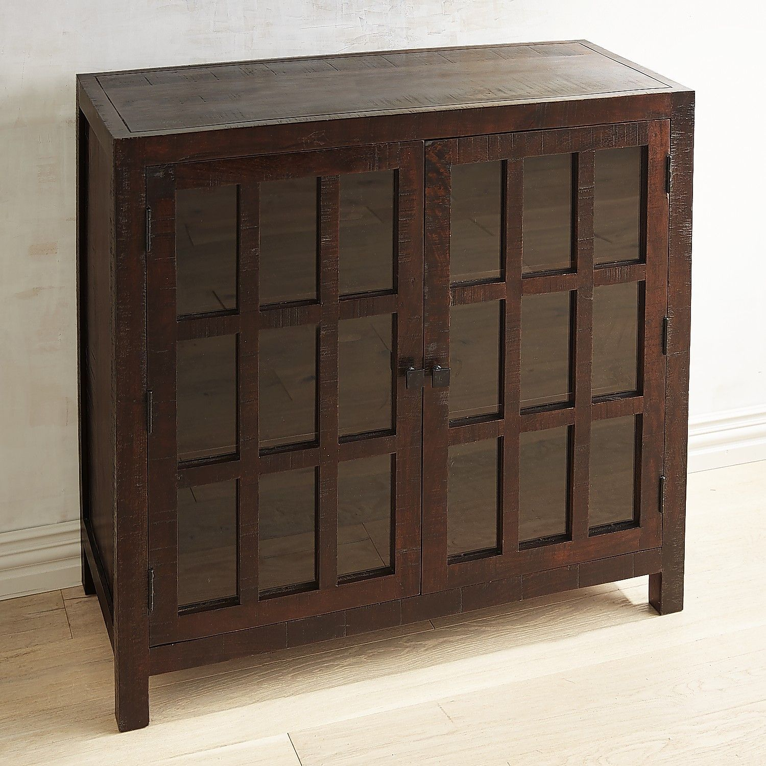 buffet with glass doors. Parsons Tobacco Brown Small Glass-Door Buffet With Glass Doors