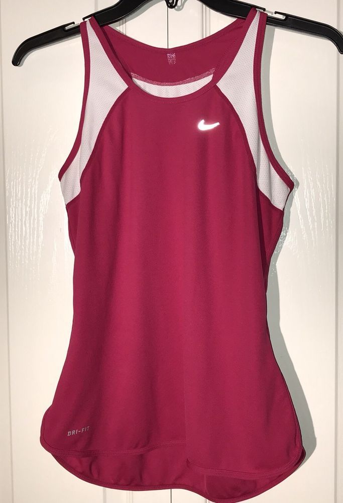 819c510574d5 Womens SMALL Nike Racerback Tank Pink And White Dri-fit Running Yoga Workout