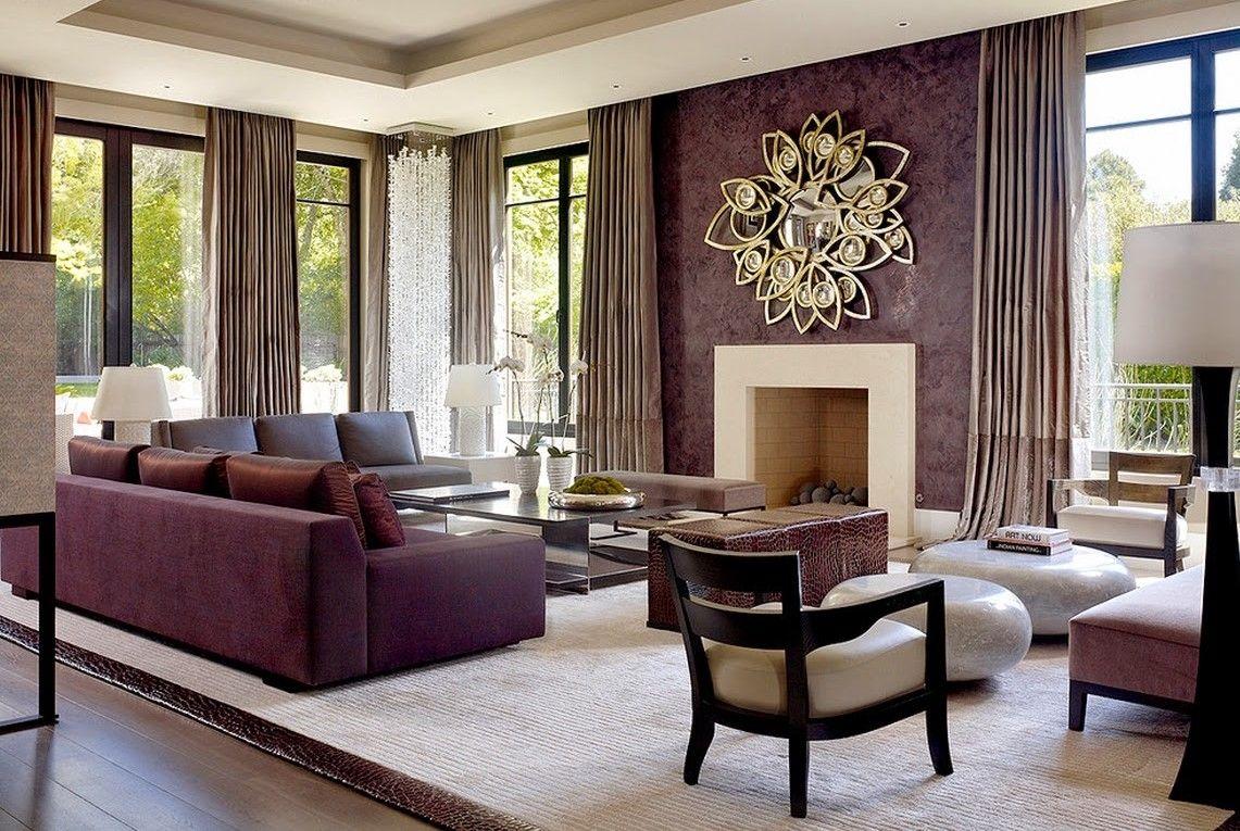 Purple Gold Living Room Design