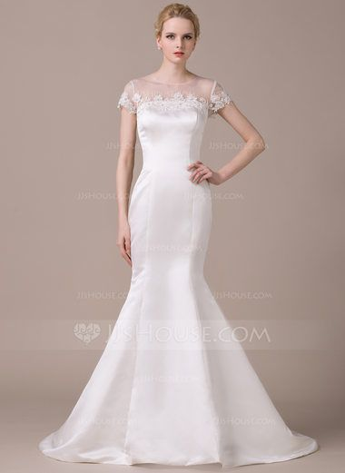 b6e679994024 Trumpet/Mermaid Scoop Neck Court Train Satin Wedding Dress With Beading  Appliques Lace Sequins (002059214) - JJsHouse