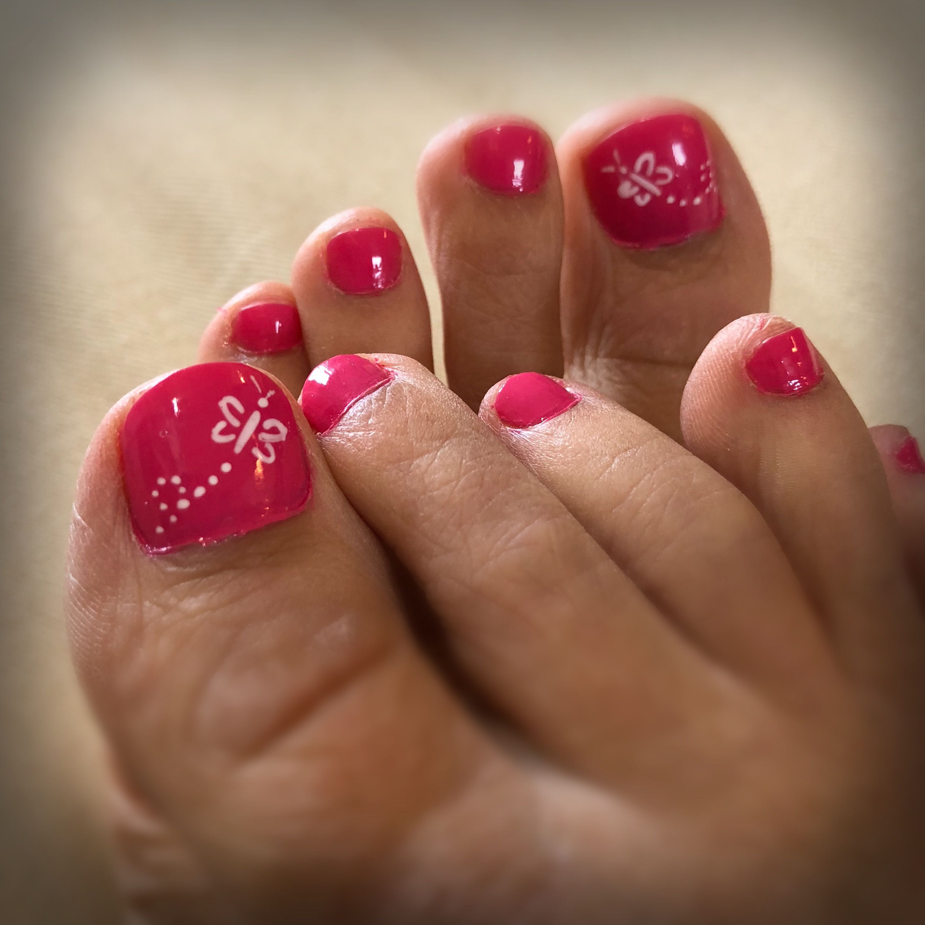 Summer Butterfly Simple Toe Nail Design Colour Me Pretty