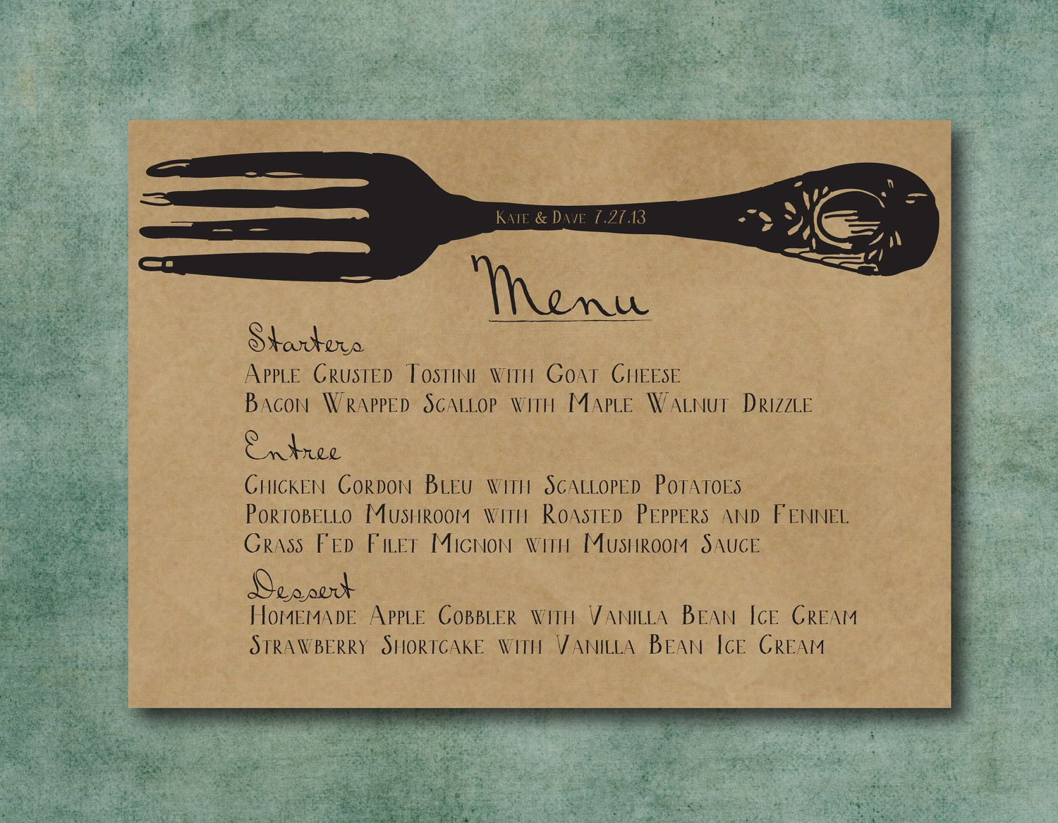 Wedding Menu Printed Wedding Menu