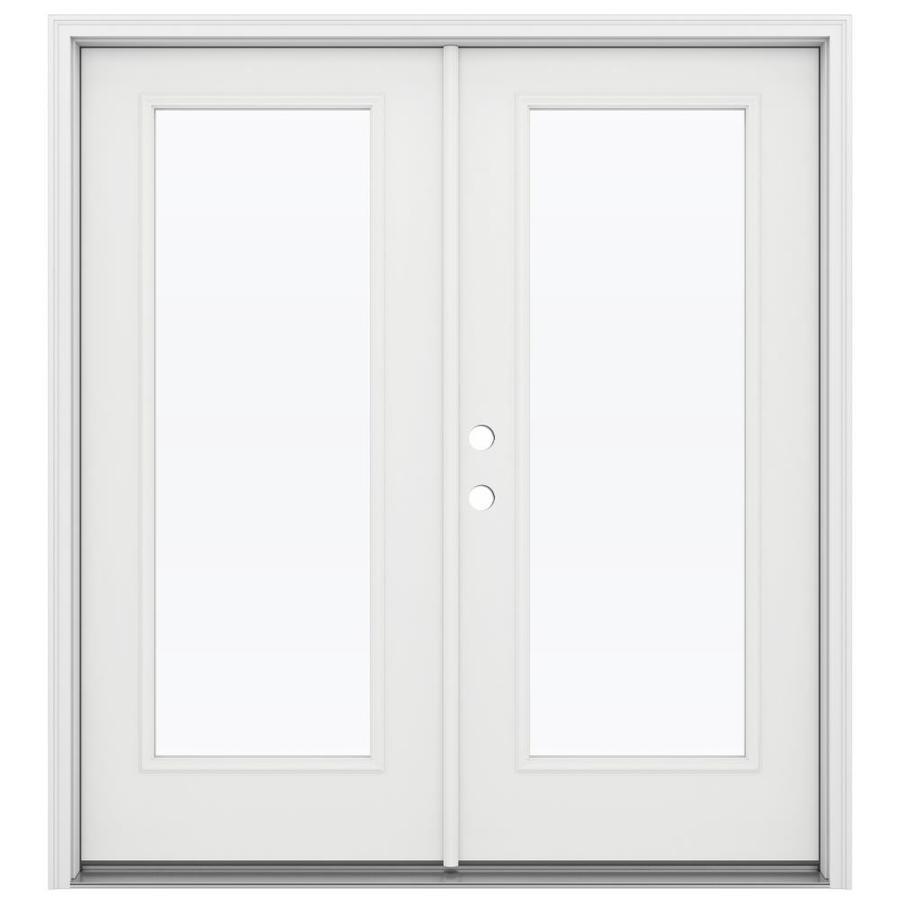 Jeld Wen Clear Glass Primed Fiberglass Right Hand Inswing Double Door French Patio Door Common 72 In X 80 In Actual French Doors Patio Patio Doors Jeld Wen