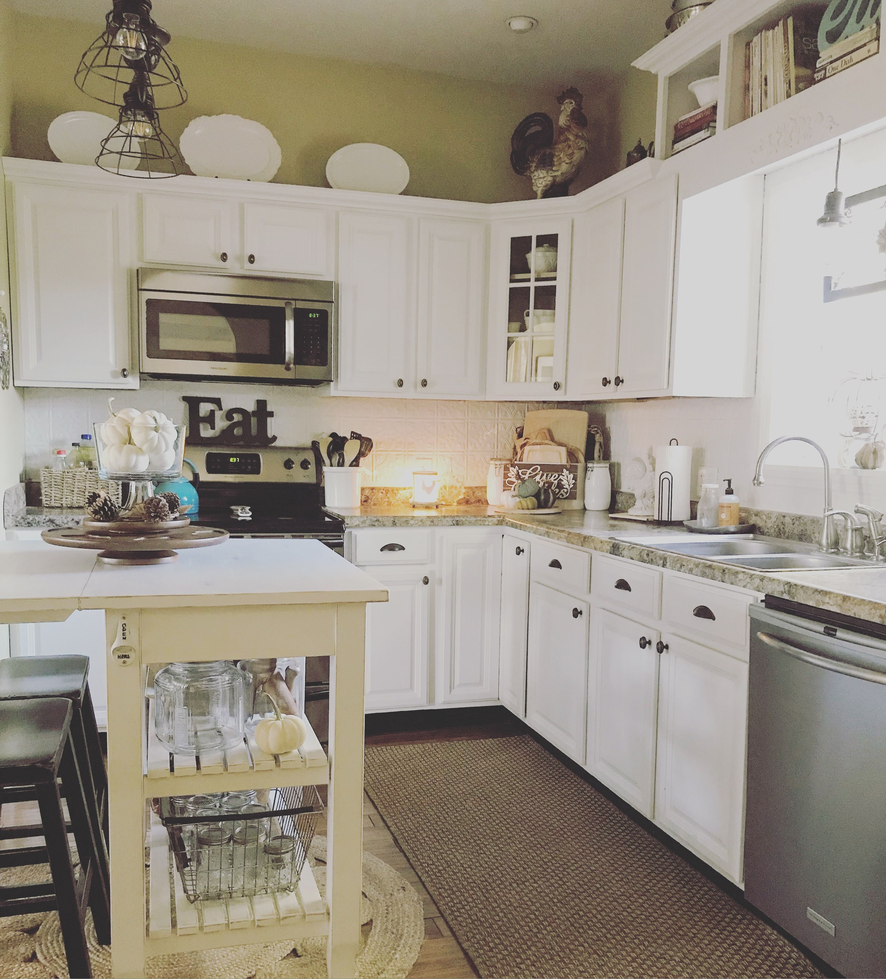Farmhouse Kitchen DIYed chalk painted cabinets