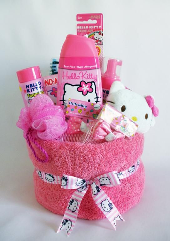 50 diy gift baskets to inspire all kinds of gifts towel cakes diy hello kitty gift basket negle Choice Image