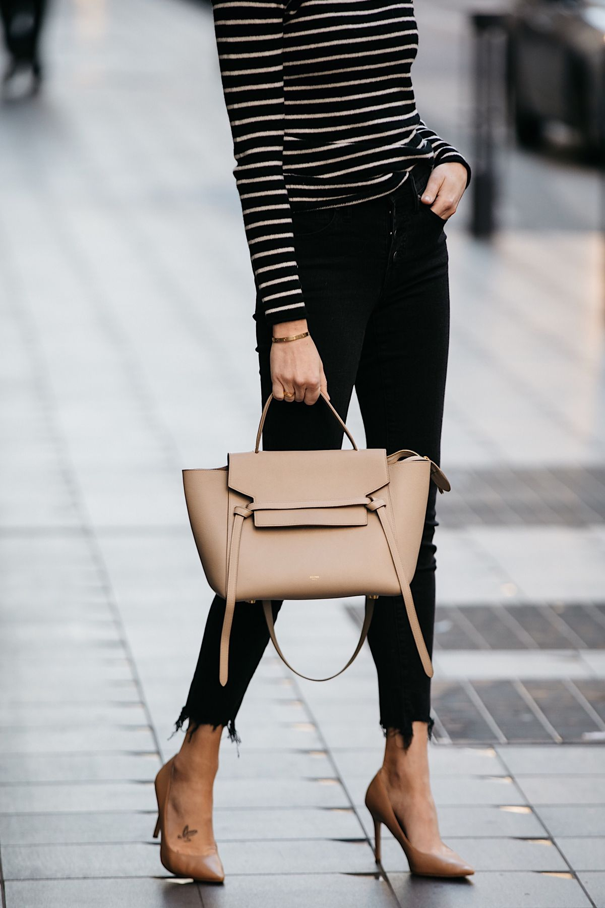 182ddaf34d35bf Fashion Jackson Nordstrom Black White Striped Sweater Black Skinny Jeans  Nude Pumps Celine Mini Belt Bag