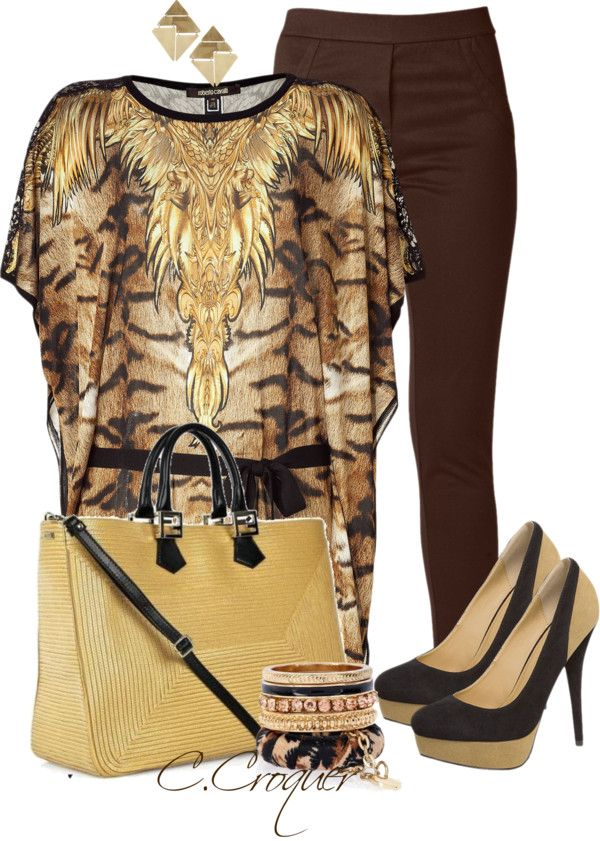 """""""R.Cavalli Kaftan"""" by ccroquer ❤ liked on Polyvore"""