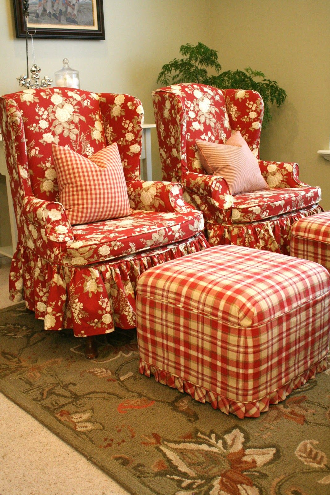 My wing chairs need a new outfit. Custom Slipcovers by