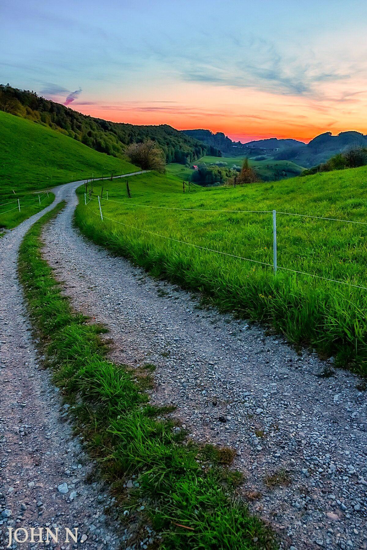 Landscape Nature Sky Sunset Magic Magical Walk Pathway Path Switzerland Beautiful Landscape Photography Beautiful Roads Landscape Photography