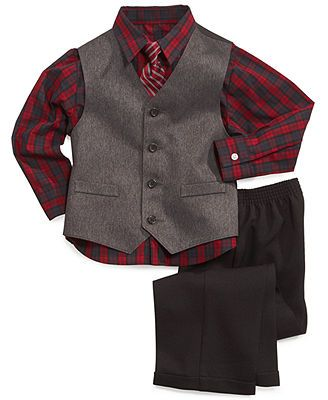 Nautica Little Boys\u0027 3-Piece Herringbone Vest, Shirt and Pants Set