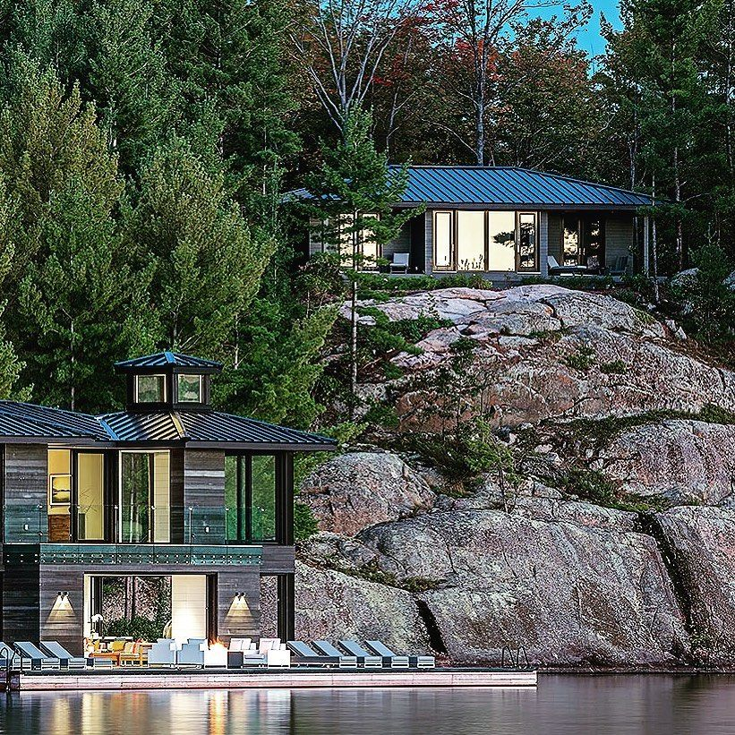 Wayne Swadron Studios On Instagram Rugged Refined Twilight At Our Award Winning Lake Pavilion Wayneswadron A Lake House Architecture Pavilion