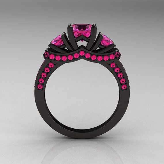 French 14K Black Gold Three Stone Pink Sapphire Wedding Ring