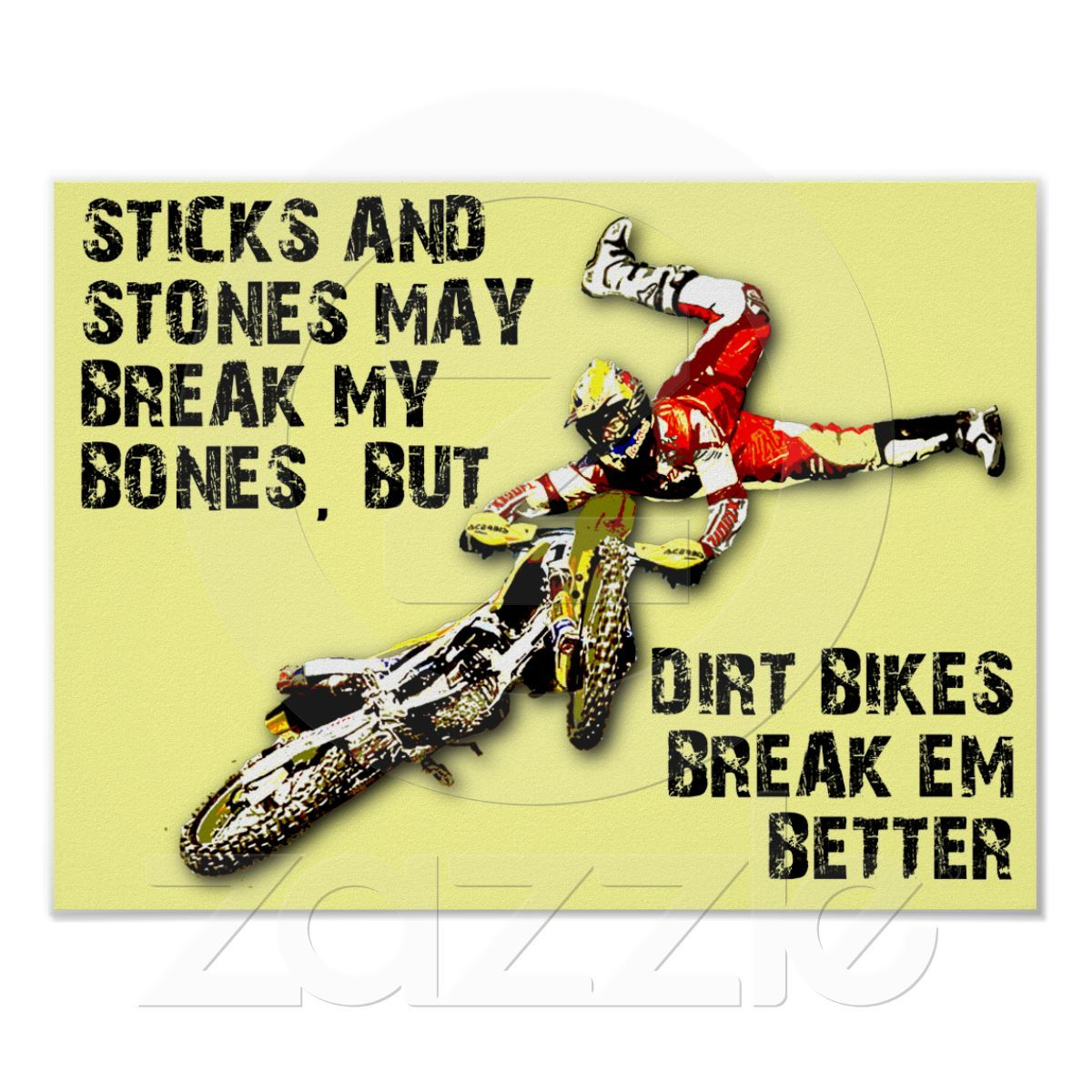 Sticks And Stones Dirt Bike Motocross Funny Poster   Dirtbike ...