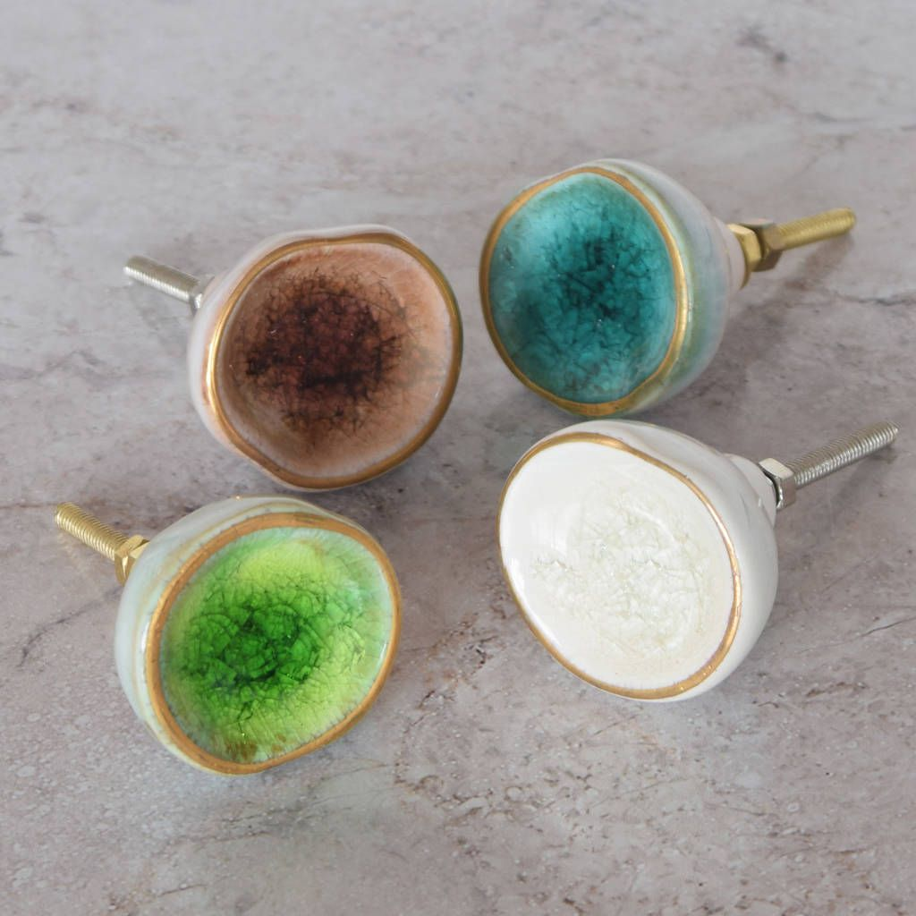 Ceramic Crackled Concave Gold Cupboard Door Knobs | Drawers ...