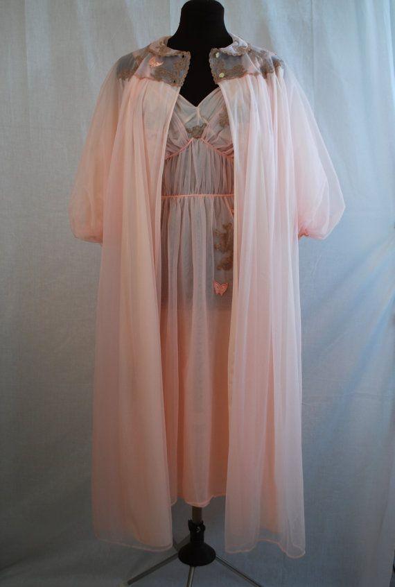 1950s Artemis Pink Peignoir Set Nightgown Amp Robe Size 38