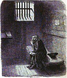 Fagin waits to be hanged.