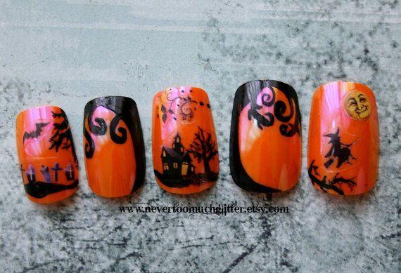 Happy Halloween! Nail art by NeverTooMuchGlitter ...