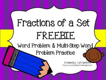 Here is a quick worksheet which contains 5 fraction of a set word problems for students to practice.  It is a preview of a set of 24 task cards that I have for sale: http://www.teacherspayteachers.com/Product/Fractions-of-a-Set-TASK-CARDS-1298441  So, if you enjoy the freebie, you will LOVE the complete set!